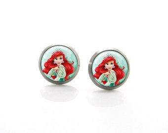 Titanium Earrings Little Mermaid Ariel | Hypoallergenic Sensitive Girls Earrings | Children Titanium earrings for sensitive ears