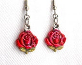 From USA Ruby Red Rose Earrings - Surgical Steel French Hooks