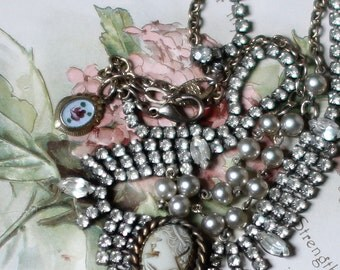 Queen Esther ~ vintage assemblage earrings shell cameo rhinestones repurposed recycled crowned by grace