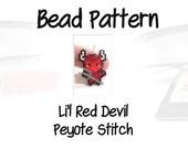 Halloween Bead PATTERN, Peyote/Brick Stitch Weaving, Jewelry Craft Digital File - Li'l Red Devil