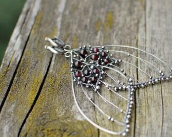 Moth earrings, Insect earrings, Large earrings, Butterfly skeleton earrings, Butterfly wing earrings, Garnet earrings, Fairy earrings
