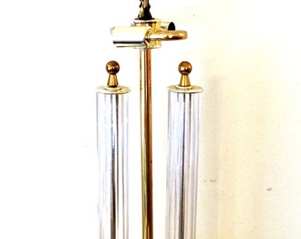 SALE vintage mid century lamp - 1950s-60s hollywood regency brass/lucite lamp