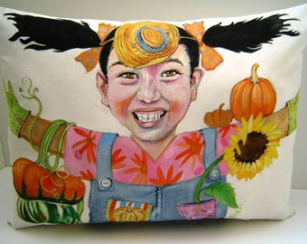 KIDS Portrait on a Pillow -12x17- Custom Order Only  Hand Painted Kids Room Seasonal FUN Home Decor Colorfull Personalized Pillow