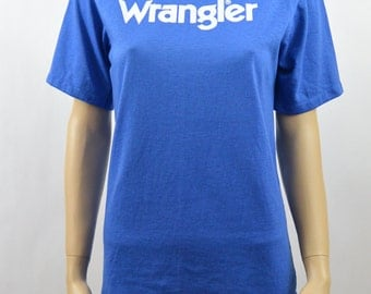 Vintage Wrangler T Shirt, 70's T Shirt, Country Western, Soft T Shirt, Size XS-Small, Youth XL, Blue T Shirt, Old School, 50/50 blend