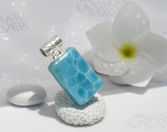Larimarandsilver pendant, Atlantis Pool - navy blue Larimar rectangle, blue tile pendant, pool pattern, turtleback, handmade larimar pendant