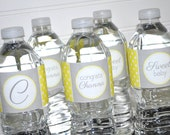 Baby Shower Water Bottle Labels - Baby Shower Decorations - POLKADOTS - Yellow and Gray - Set of 10
