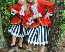 Pirate Costume Jacket, Skirt, Belt and Dew Rag for Girls sizes 2T to  6X