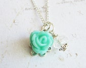 Blue Flower Girl Necklace, flower girl gift, blue jewelry, blue wedding jewelry, aqua childrens necklace