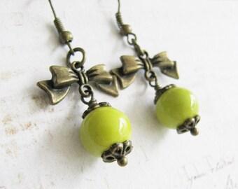 Lime green earrings, bronze dangle earrings, bow earrings, green jewelry, vintage style earrings, for her, Europe