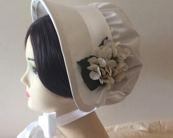 Regency Bonnet. Jane Austen. Ivory SILK. Bridal. MADE To ORDER