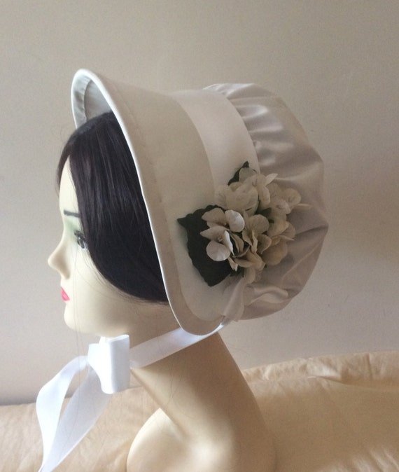 Regency Bonnet. Jane Austen. Ivory SILK. Bridal. MADE To ORDER