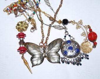 Jewelry Lot Necklace Lot Vintage Gypsy Boho Butterfly Vintage Asian Necklaces