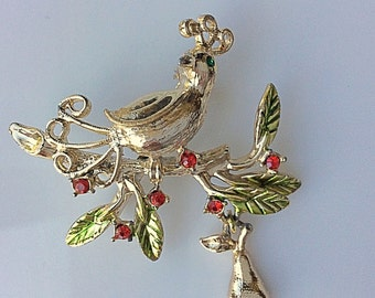 Charming Tancer Christmas Partridge in a Pear Tree Brooch