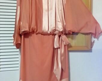 Vintage 80s retro 20s 30s Batwing Dress NWT Robert Gates Burlingame Gilberts Tally M 275.00