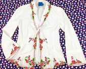 vintage Christian Lacroix Jeans shirt / 90's embroidered floral white cotton tie front blouse / bell sleeve / collared / jacket / cover up S