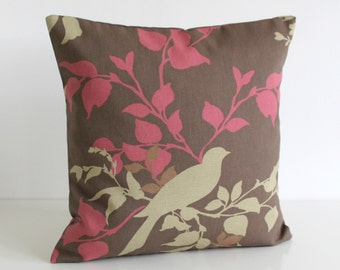 16x16 Pillow Sham, Brown Cushion Cover, Bird Pillow Cover, Accent Pillow Cover, Bedroom Pillow Cover - Doves Chocolate