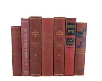 Burgundy Maroon Decorative Books , Old  Book , Decorative Book Set , Books for Decorating,  Wedding Book Decor , Book Lover Set , Home Decor
