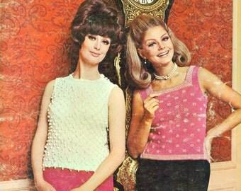 Diamond Yarns Book 140 HAUTE BOUTIQUE SHELLS Etc. 1960s Knitting and Crochet Patterns