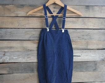 SUPER SALE - Vintage Blue Children's Romper with Suspenders Size 24 Months