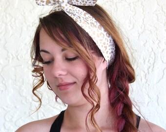 Dolly Bow, Gold Metallic Cougar Animal Print Pin Up Wire Headband Rockabilly Headscarf Teen Woman
