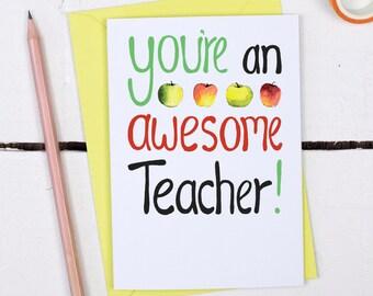 Teacher Thank You Card -  Awesome Teacher Card - Card for Teachers