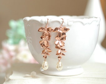 Rose Gold Earrings Orchid Flower White Cream Teardrop Pearl Long Dangle Earrings Wedding Jewelry Bridal Earrings Bridesmaid Gift Pink Gold