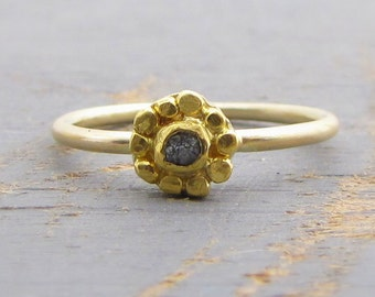 24kt Gold Diamond Ring - Rough Diamond Ring - Solitaire Diamond & 24k Gold Ring - Engagement Ring - Alternative Engagement Ring