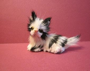 Tiny Fur Kitten - Black and White Miniature Cat
