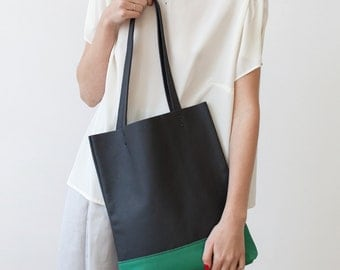 Charcoal Grey & Emerald Green Leather Tote bag