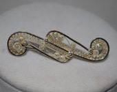 Art Deco Filigree Bar Brooch Pin 800 Sterling Silver Cannetille ~ Germany ~ with Original Vintage Purchase Box