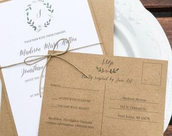 Leaf Wreath Wedding Invitations