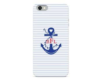 Preppy Collection - Monogrammed Personalized Cell Phone - Nautical Boating Anchor Monogram - iPhone Case