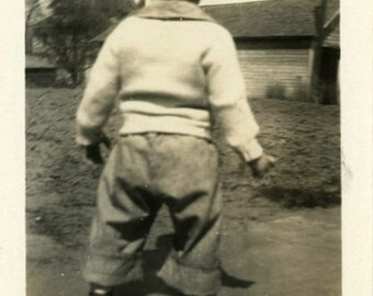 "Snapshot Photo ""Exploring New Ground"" Boy Children Vintage Photo Antique Photo Old Black & White Photograph Found Photo Paper Ephemera - 190"