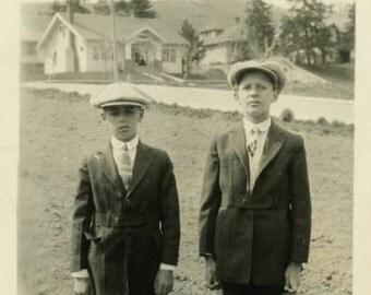 "Vintage Photo ""Ronald and Donald"" Snapshot Old Antique Photo Black & White Photograph Found Paper Ephemera Vernacular - 147"