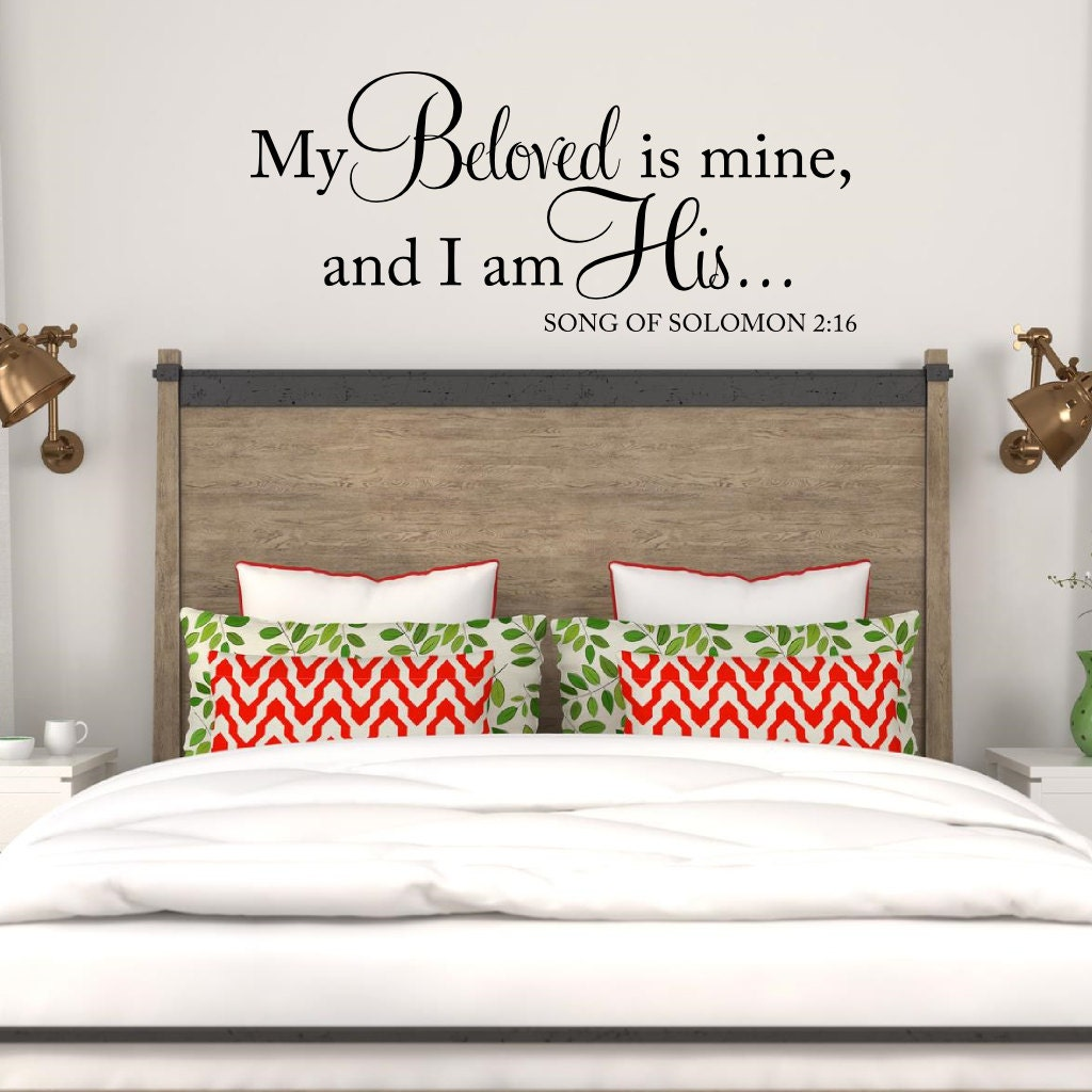 My beloved is mine and i am his wall decal song of solomon for Spiritual bedroom designs