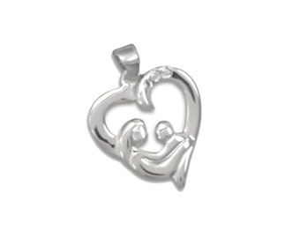 SALE Sterling Silver Mother and Child Pendant Heart Charm Marked 40% off Regular Price