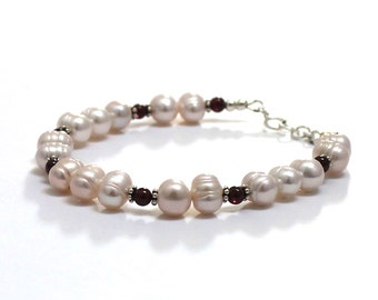 Gorgeous Garnets Freshwater Pearls Bracelet, January June Birthday Wedding Gifts for Daughter in Law Mother, Gift for Her Bohemian Jewelry