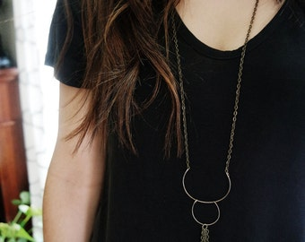 Half Moon - Extra Long Geometric Necklace with Tassel