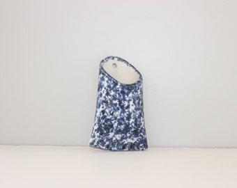 Ceramic Wall Flush Mount Vase Planter, Blue & White Speckled Paint Glaze