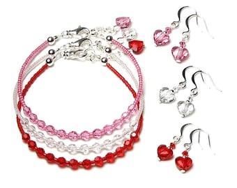 Valentine's Day Bracelets, Swarovski Crystal Red Pink Clear Love Heart Earrings, Set, Adjustable, Silver, Feminine, Romantic, Gift Boxed Set