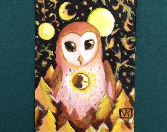 Owl ACEO Print Miniature Illustration