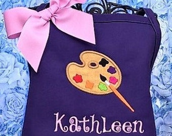 Personalized Child Apron Paint Palette, Art Apron, Birthday Gift
