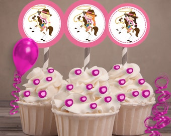 Cowgirl Party Favors, Cowgirl Cupcake Toppers, Cowgirl Party, Western Party.  Cowgirl stickers, Western girl stickers. Set of 24