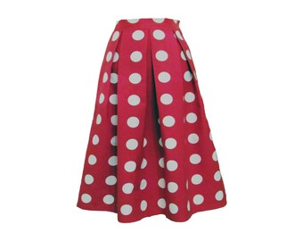 Red Polka Dot Pleated Full Midi Skirt Size Extra Small Size 2 4 Ready to Ship