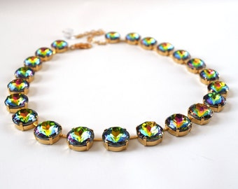 Rainbow Necklace, Rainbow Crystal Jewelry, Colorful Necklace, Anna Wintour Necklace, Vitrail Rhinestones, Riviere Necklace Rainbow Statement