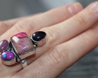 Mookaite Jasper, Amethyst and Stichite, hand-hewn silver ring, Valentines Gift