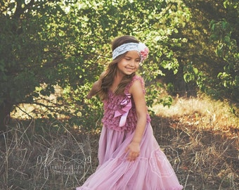 flower girl dress- baby flower girl dress- dusty rose flower girl dress- girl dress- tutu dress- lace dress- pink dress- country dress