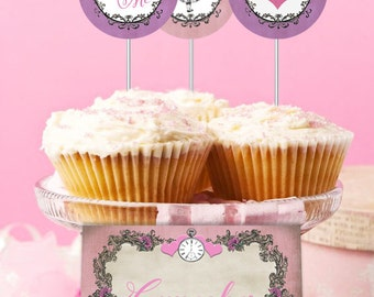Alice in Wonderland Party Circles/Cupcake Toppers Pastel Pink - INSTANT DOWNLOAD - Partially Editable & Printable Birthday Decorations Decor