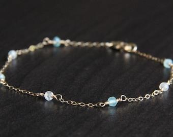 Aqua Blue Chalcedony and White Topaz Bracelet, 14k Gold Filled Jewelry, Dainty Bracelet