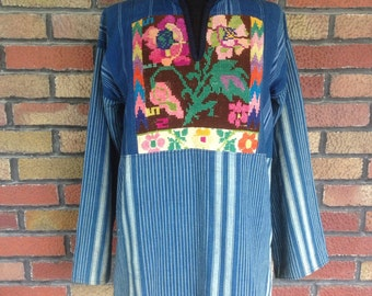 Vintage 1970s denim embroidered needlepoint Baja tunic jacket